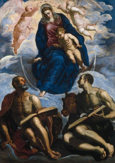Tintoretto, Jacopo Robusti: Mary with the Child, Venerated by Saint Marc and Saint Luke. Fine Art Print/Poster. Sizes: A4/A3/A2/A1 (001990)